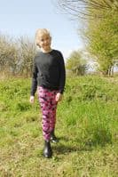 Rhinegold Children's Full Seat Pony Print Tights in Pink